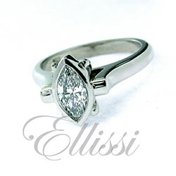 """Marchese"" bezel set Marquise diamond ring."