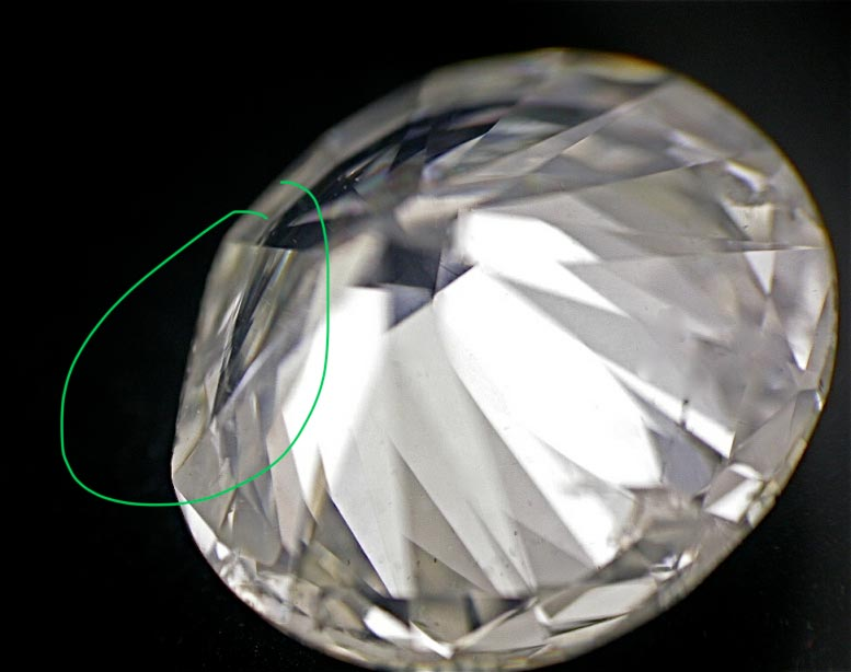 Diamond with a large section removed in order to improve its clarity grade.