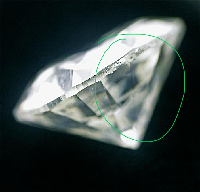 A rough girdle edge such as on this diamond can reflect through the diamond, affecting its sparkle and brilliance