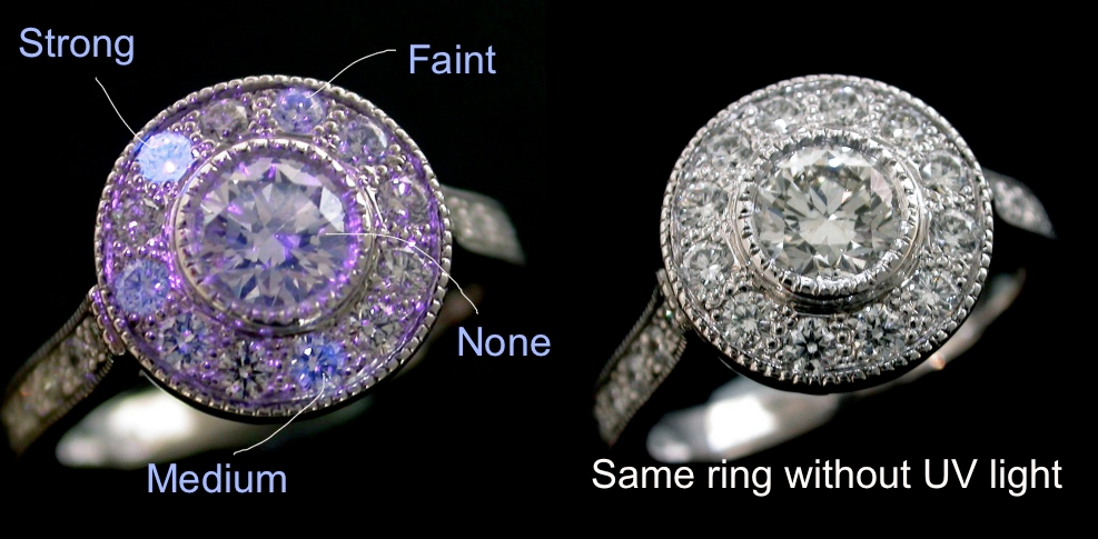 fluorescence in diamonds reacting to ultra violet light set in a completed ring