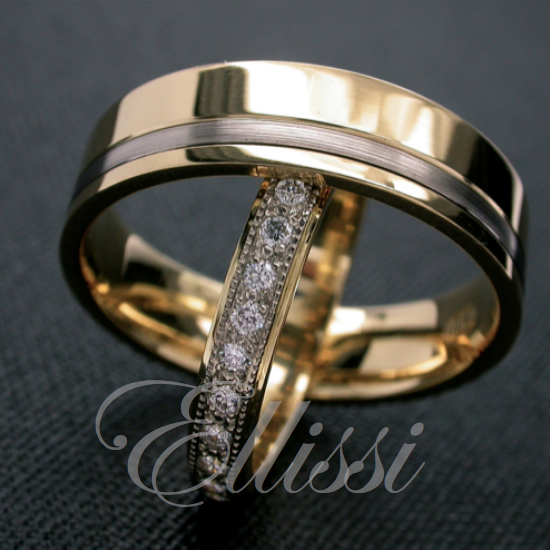 """Dovetail"" 18ct. yellow and white gold wedding bands."