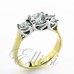 """Angel"" Round Brilliant Cut Trilogy Ring"