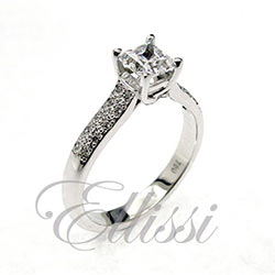 """Anemone"" Princess Cut Pave Diamond Ring"