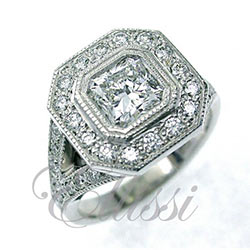"""Volo"" Radiant cut antique mille grain diamond engagement ring"