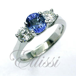"""Chene"" Ceylon Sapphire and diamond trilogy engagement ring"