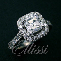 """Antonia"" Asscher Cut halo with diamond set band."