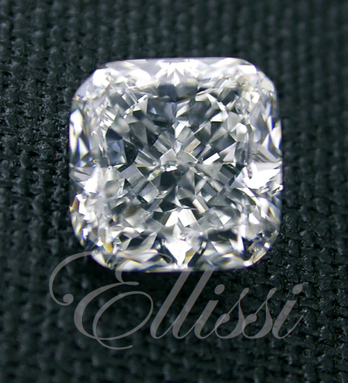 Cushion cut diamonds such as this square modified brilliant can be well cut or display the crushed ice effect