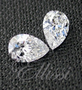 The pear cut diamond is versatile. Shown here a matching pair of brilliant cut pears, suitable for earrings.