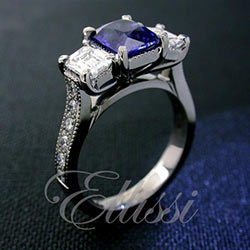 """Stephania"" Sapphire and emerald cut diamond ring."
