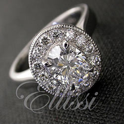"""Claudia"" Oval diamond halo ring."