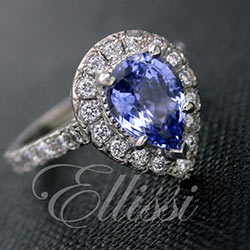 """Odetta"" Pear shaped ceylon sapphire halo ring."