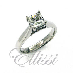 """Pure"" elegant Princess cut diamond solitaire."
