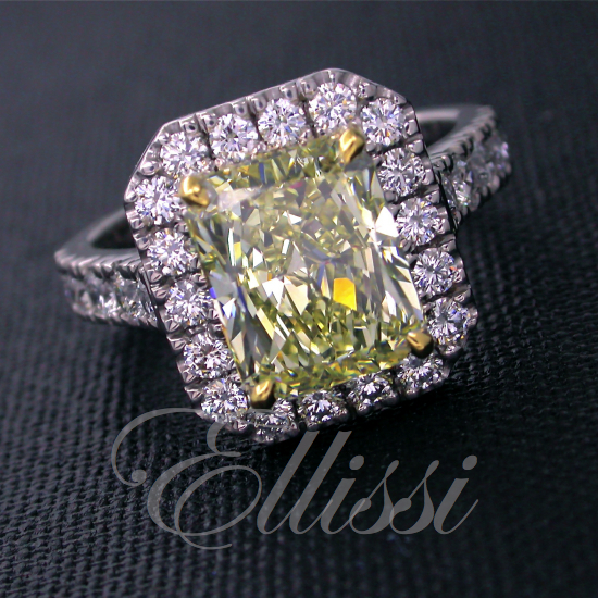 """Lurdes"" Yellow radiant cut diamond cluster ring."