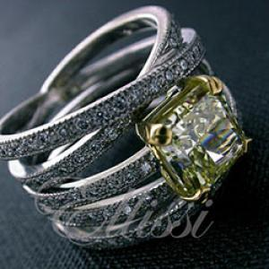 """Elizabeth"" Yellow Radiant Cut diamond multi band ring."