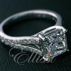 """Anna"" Platinum Cushion Brilliant solitaire."