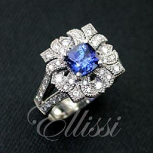 """Manola"" Ceylon Sapphire diamond ring, antique style."