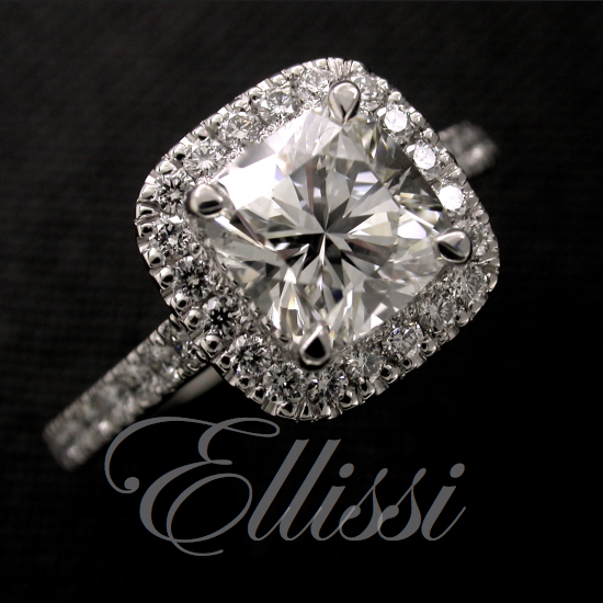 """Elise"" Cushion Brilliant Halo Engagement Ring"