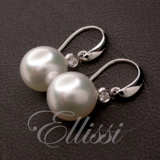 South Sea Pearl earrings in 18ct. white gold.