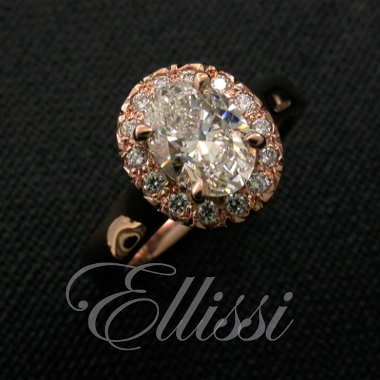 Oval Diamond Cluster Ring set in 18ct. Rose Gold