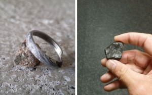 Meteorite and finished engagement ring
