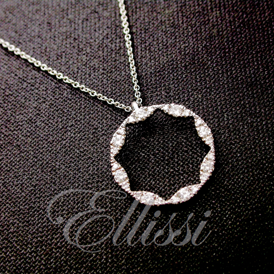 Pendant star shape in 18ct. white gold