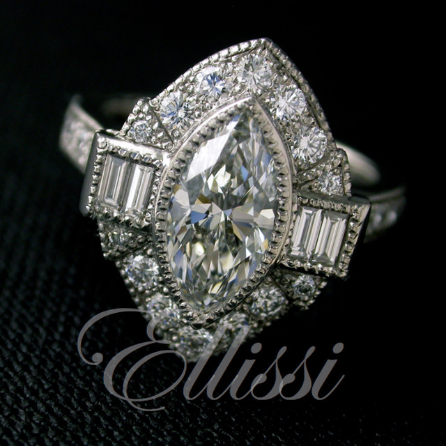 Marquise diamond Art Deco inspired engagement ring